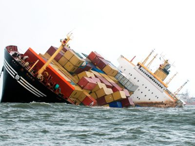 ERYWAM Container ship tilted dangerously after colliding in sea Bombay Mumbai Maharashtra India